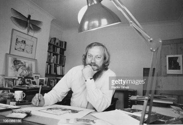 Portrait of cartoonist Peter Brookes at work in his office, photographed in connection with the BBC Radio 4 show 'The Elephant Plays', October 8th...