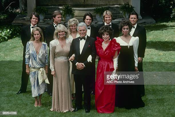 Portrait of cast members from an episode of the television show 'Dynasty,' Los Angeles, California, May 15, 1985. Pictured are actors Pamela...
