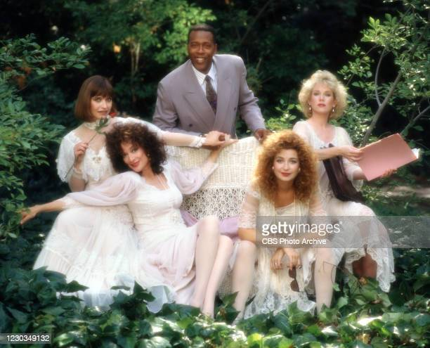 Portrait of cast members from left, Jan Hooks , Dixie Carter , Meshach Taylor , Annie Potts , Julia Duffy in the CBS television comedy, DESIGNING...