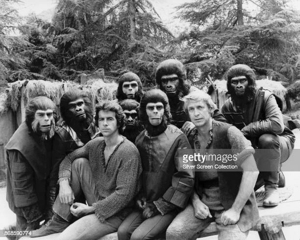Portrait of cast members from the television show 'Planet of the Apes' 1974 Among those pictured are fore from left James Naughton Roddy McDowall and...