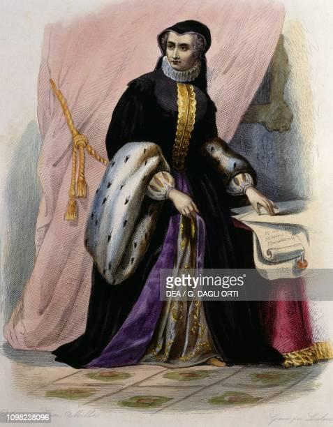 Portrait of Catherine de Medici , colour engraving, 19th century.