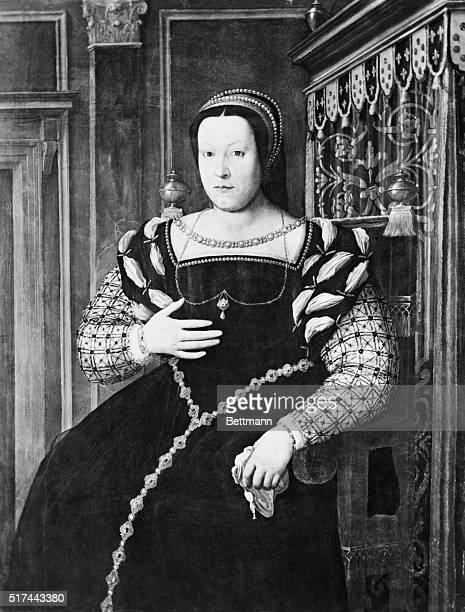 Portrait of Catherine de Medici , consort of Henry II of France and subsequently Regeant of France after his death in 1560. Painting by an unknown...
