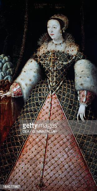 Portrait of Catherine de Medici , queen consort of King Henry II of Valois , King of France. Florence, Galleria Degli Uffizi