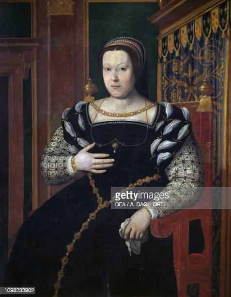 Portrait of Catherine de Medici, Queen of France , 1585-1586, oil on panel, by Santi di Tito, 142x118 cm.