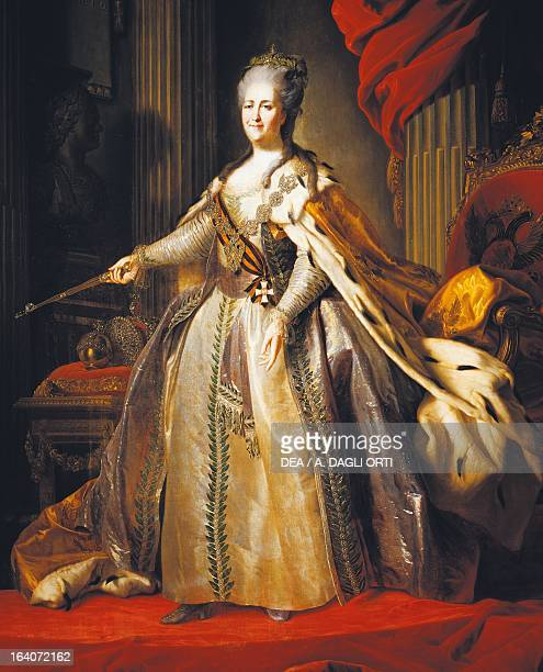 Portrait of Catherine II also known as Catherine the Great Empress consort of Peter III of Russia painting by Fyodor Rokotov ca 1770 Mosca...