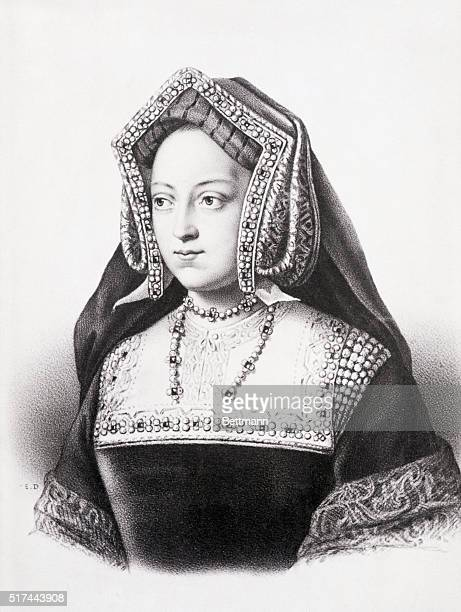 Portrait of Catherine of Aragon 14831536 first wife of Henry VIII of England Undated lithograph