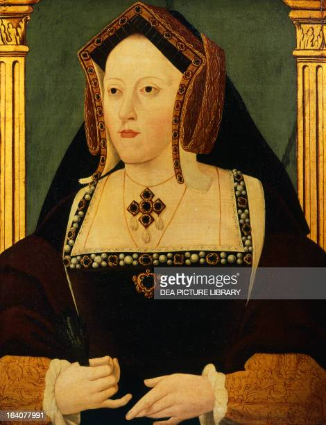 Portrait of Catherine of Aragon Queen Consort of England Unknown artist oil on canvas cm 559x445 London National Portrait Gallery