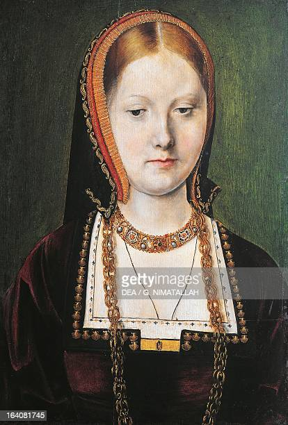 Portrait of Catherine of Aragon Queen of England Painting by Michael Sittow Vienna Kunsthistorisches Museum