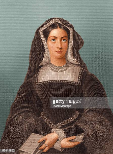 Portrait of Catherine of Aragon the first queen of Henry VIII of England daughter of King Ferdinand and Queen Isabella of Spain holding a bible 1500s