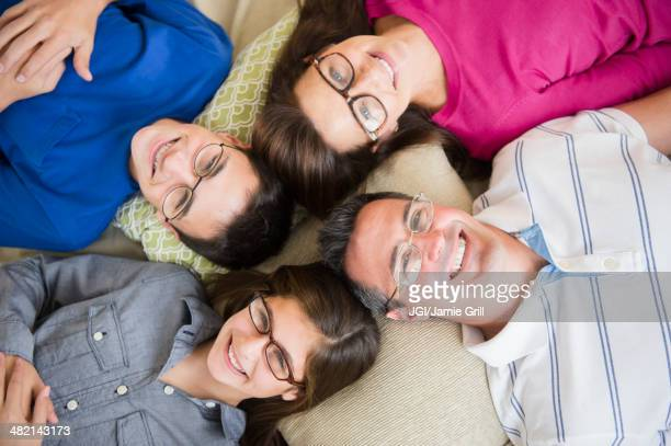 Portrait of Caucasian family wearing eyeglasses