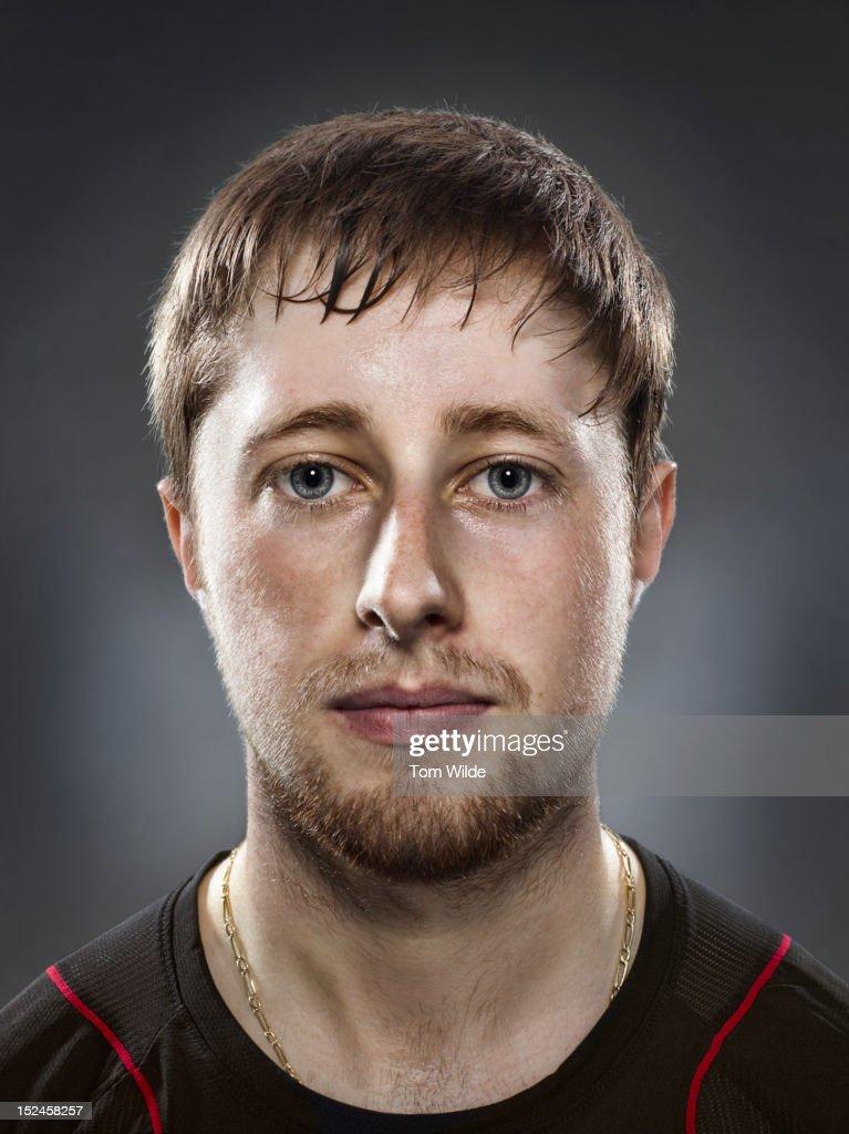 Portrait of caucasian male with sweaty brow : Stock Photo