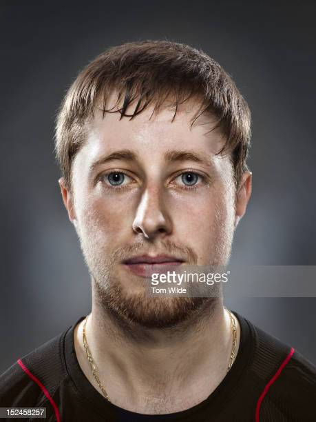 Portrait of caucasian male with sweaty brow
