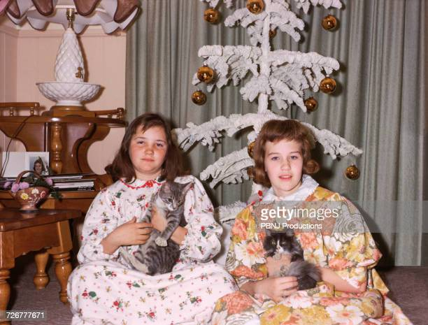 portrait of caucasian sisters wearing pajamas holding cats on christmas - historisch stock-fotos und bilder
