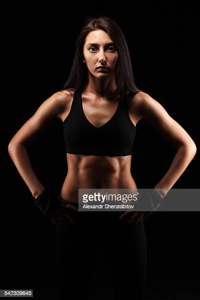 Portrait of Caucasian woman in sport-bra