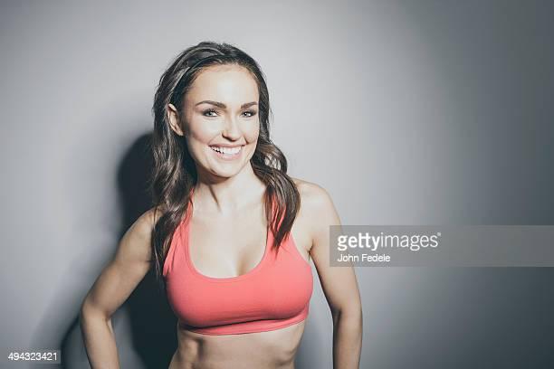 Portrait of Caucasian woman in sports-bra