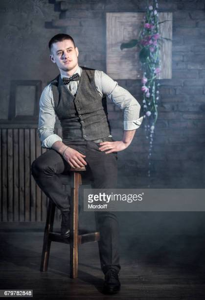portrait of caucasian young man - suspenders stock pictures, royalty-free photos & images