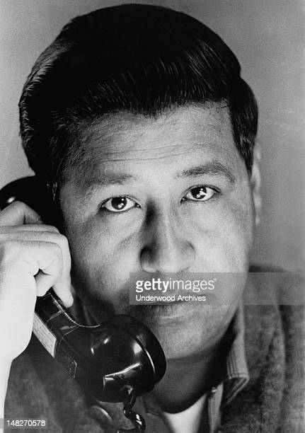 Portrait of Cesar Chavez talking on the phone California June 10 1967
