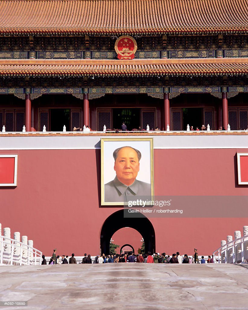 Portrait of Chairman Mao, Gate of Heavenly Peace (Tiananmen), Tiananmen Square, Beijing, China, Asia : Foto de stock