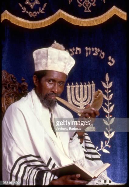 Portrait of Chairman of the Ethiopian Rabbinical Council Rabbi Yhoshua Ben Yohonatan 1980s