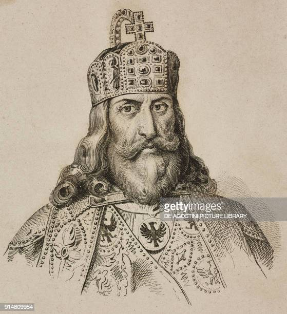 Portrait of Charlemagne , Holy Roman Emperor, engraving by Lemaitre and Manceau from Allemagne by Philippe Le Bas , L'Univers pittoresque, Europe,...