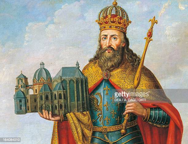 Portrait of Charlemagne King of the Franks and Lombards and Emperor of the Holy Roman Empire standing with a model of the Palatine Chapel detail...