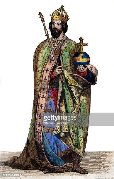 Portrait of Charlemagne King of the Franks Illustration from Le Plutarque Francais by Edmond Mennechet 1836 �� Stefano Bianchetti/Corbis