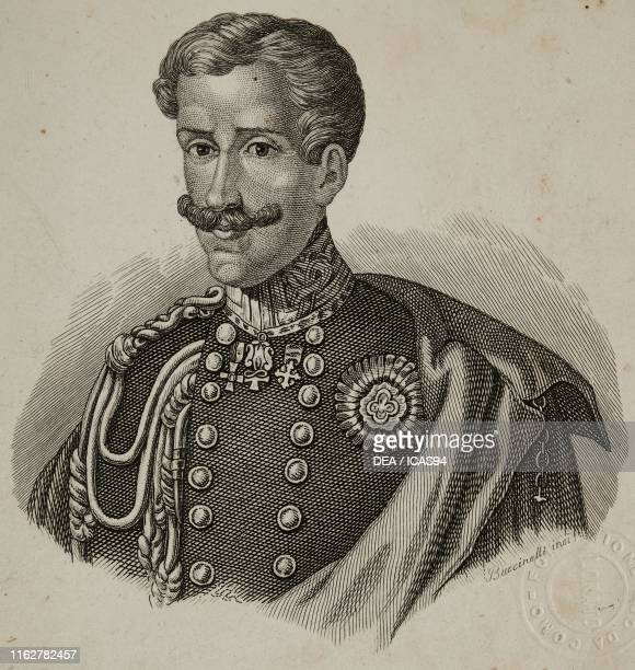 Portrait of Charles Albert of Savoy King of Sardinia engraving by Buccinelli