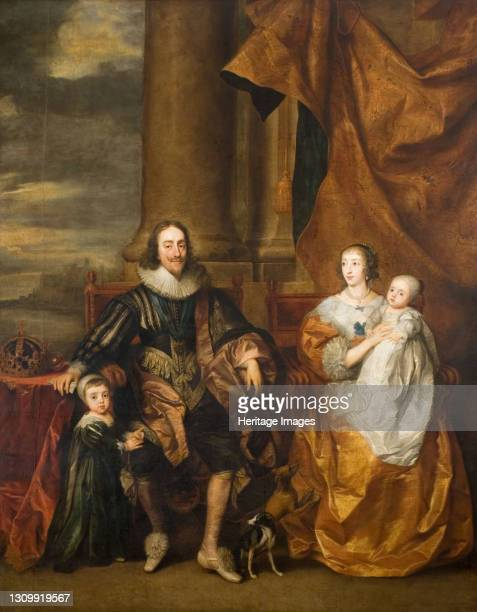Portrait of Charles I and his Family King Charles I, Queen Henrietta Maria, the Prince of Wales and Princess Mary, 17th century. Artist Remee van...