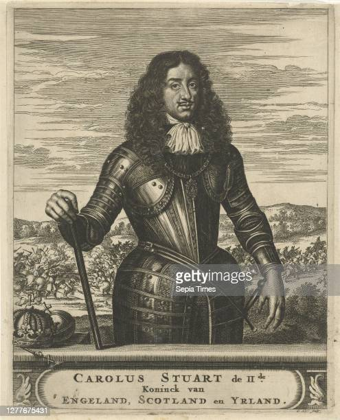 Portrait of Charles II, King of England, Knee piece of Charles II, King of England. He is holding a command staff in his right hand. Next to him are...