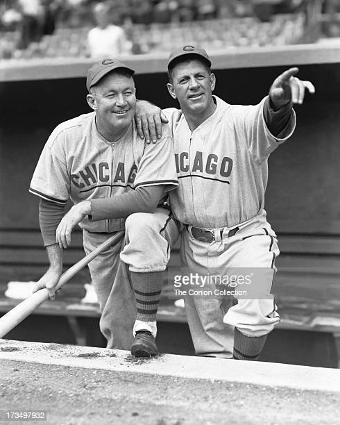 A portrait of Charles J Grimm with Gabby Hartnett of the Chicago Cubs in 1937