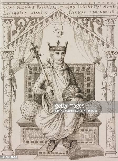 Portrait of Charles the Bald Holy Roman Emperor engraving by Lemaitre from France premiere partie L'Univers pittoresque published by Firmin Didot...