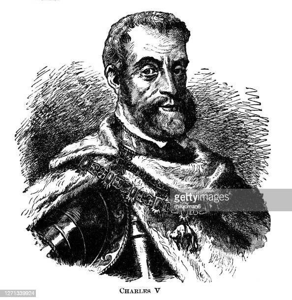portrait of charles v, holy roman emperor - king royal person stock pictures, royalty-free photos & images