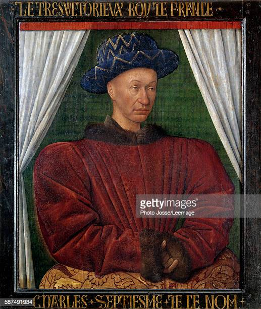 Portrait of Charles VII King of France Painting by Jean Fouquet 1444 Oil on wood 86 x 71 cm Louvre Museum Paris