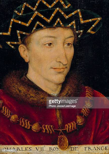 Portrait of Charles VII King of France shown wearing collar of the Order of Saint Michael Painting of the French School 16th century Oil on canvas...