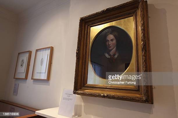 A portrait of Charlotte Bronte on display in her old bedroom at the Bronte Parsonage Museum on February 8 2012 in Haworth England The famous Bronte...