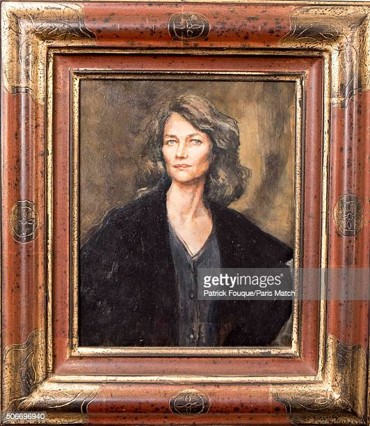 A portrait of Charlotte Rampling painted in 2003 by Madeleine Rampling is photographed for Paris Match on January 6 2016 in Paris France