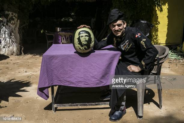 A portrait of Che Guevara carved on a watermelon by cook Halil Bozkurt is seen in Turkey's Hatay on August 17 2018 Bozkurt carves portraits of well...