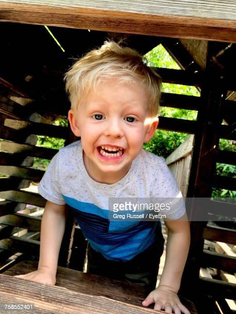 Portrait Of Cheerful Boy Playing In Wooden Jungle Gym At Playground