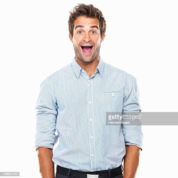 portrait of cheerful business man with wide grin standing - coiffure punk photos et images de collection