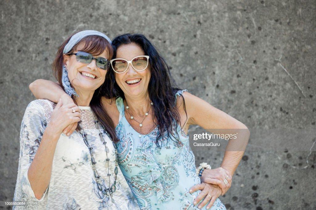 Portrait of Cheerful Lesbian Mature Couple : Stock Photo