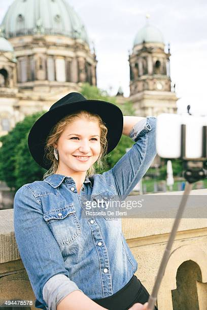 Portrait Of Cheerful Woman In Berlin, Berlin Cathedral On Background
