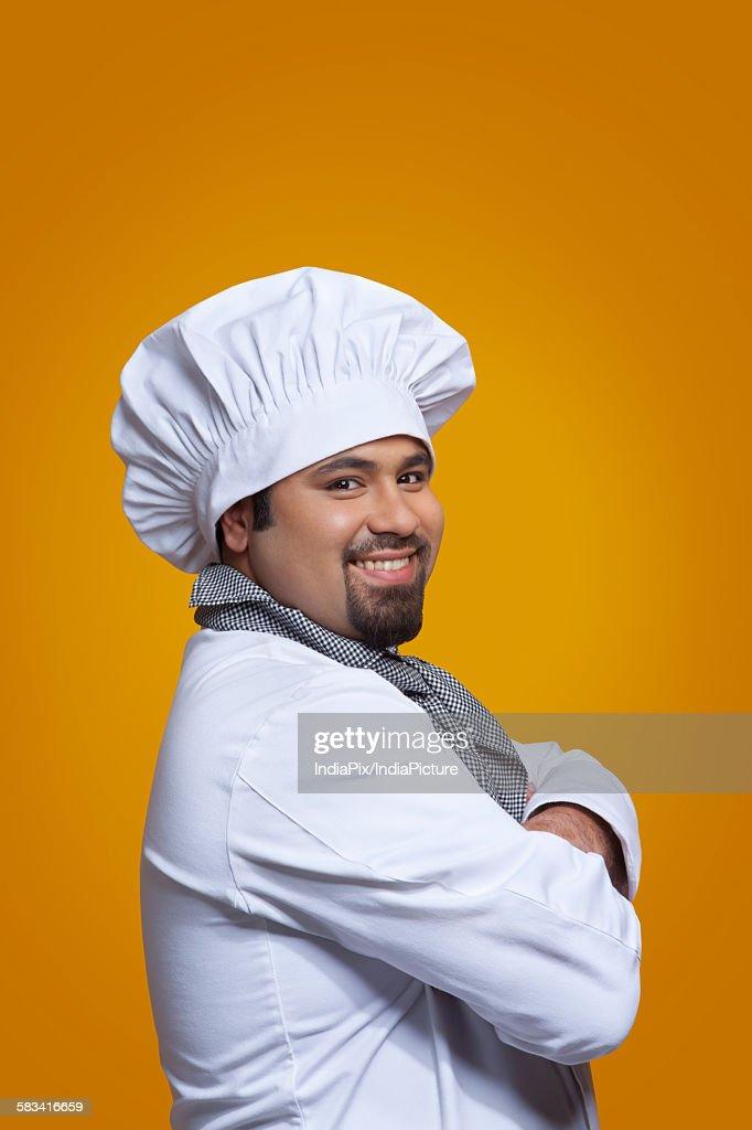 Portrait of chef smiling : Stock Photo