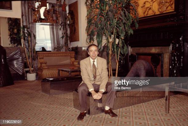Portrait of Chelsea Hotel owner and manager Stanley Bard as he sits in the hotel's lobby New York New York 1987