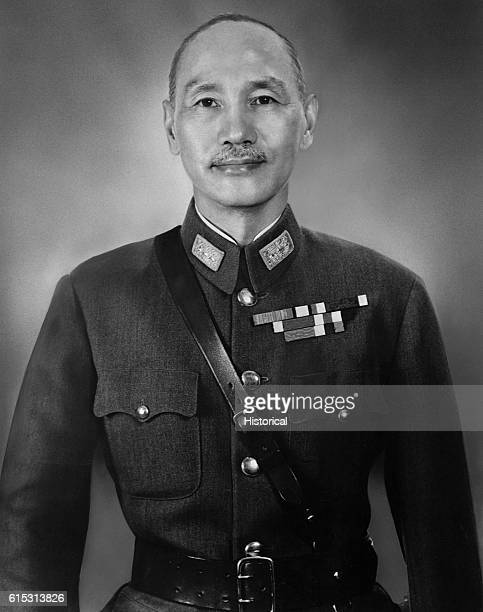 A portrait of Chiang KaiShek leader of the Kuomintang Party Army of China which fought both the Japanese and Mao TseTung's Communist forces during...
