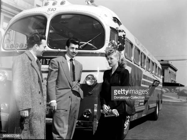 Portrait of Chico Alvarez and June Christy with Stan Kenton Tour Bus 1947 or 1948