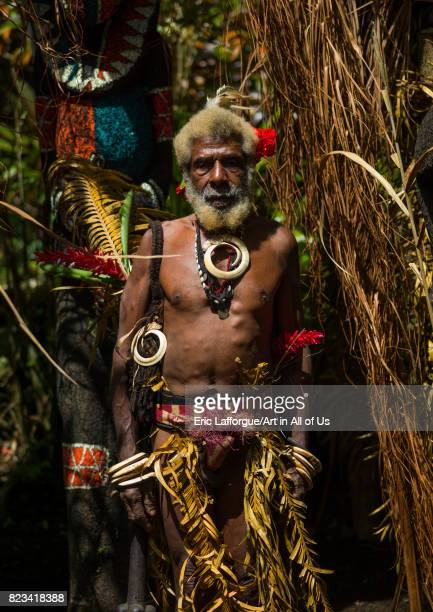 Portrait of chieftain Etul in front of the nakamal Ambrym island Fanla Vanuatu on August 29 2007 in Fanla Vanuatu