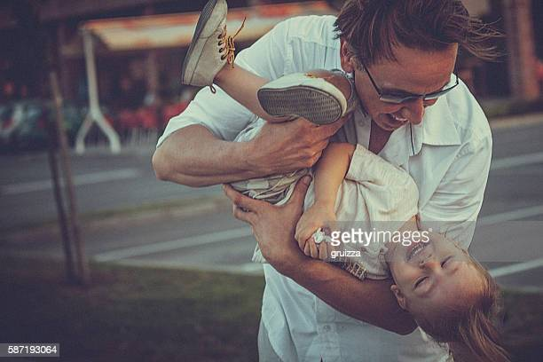 Portrait of child and father, showing their love and affection
