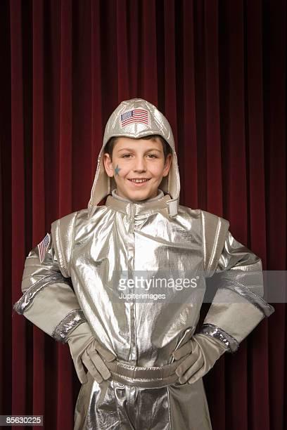 Portrait of child dressed as astronaut