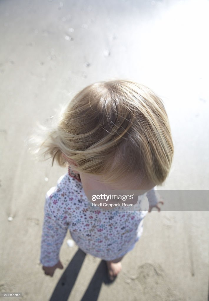 portrait of child from above : Stock Photo