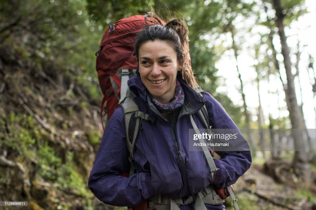 Portrait of Chilean woman backpacking : Stock-Foto